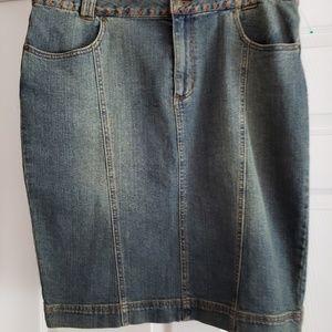 Embroidered Jean  Denim Skirt -Size 16